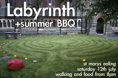 Labyrinth + summer BBQ, St Mary's Ealing, Saturday 12th July, from 8pm